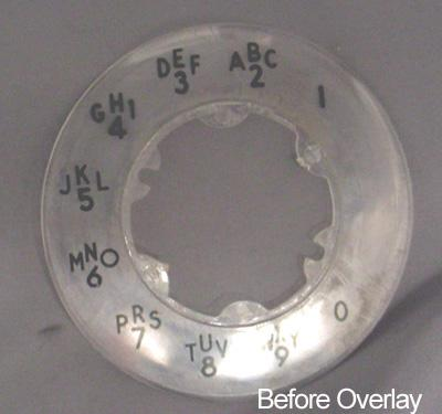 Western Electric  Alphanumeric Princess Dial Plate Overlay Before View