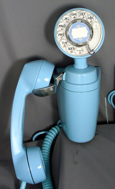 Automatic Electric Type 183 Spacemaker - Aqua Blue with Matching Ringer Box Front View