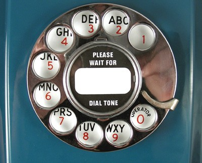 Northern Electric Custom Blue 354 Wall Phone - with Chrome Trim Front View