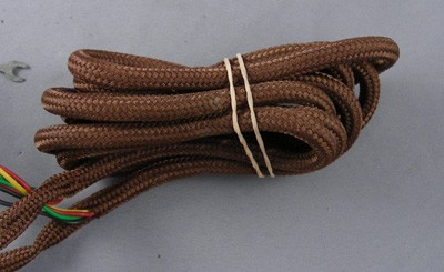 Cord, 4 Conductor Brown Cloth Covered Subset Cord - NOS Kellogg! Front View