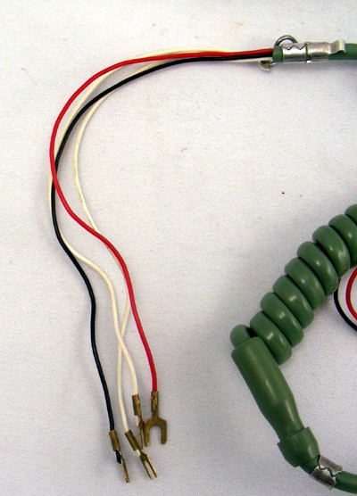 Cord,Rubber, coiled ,3 cond, moss green Front View