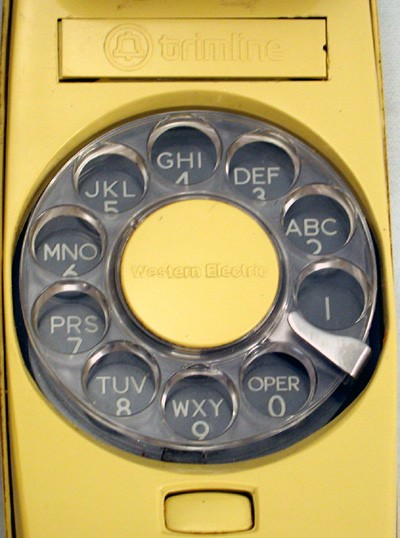 Western Electric Yellow Trimline Touch Tone Front View