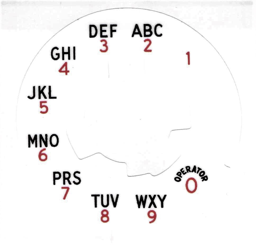 Western Electric 164a Alphanumeric Dial Plate Overlay for No 6 Dials