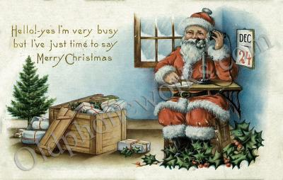 Christmas Eve Busy Santa Postcard
