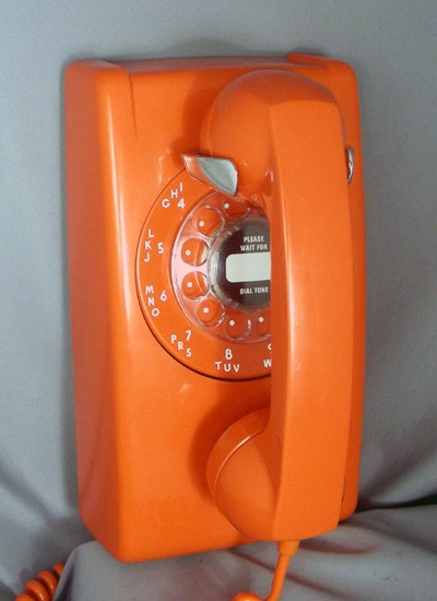 Western Electric 554 Wall Telephone - Orange