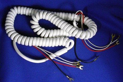 Cord, Handset, Curly, White, 4 Conductor, Vinyl,6 foot