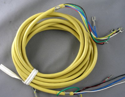 Yellow Line Cord - Spade to Spade - 6 Conductor - Round