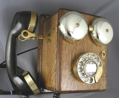 Mission Oak Wood Wall Phone
