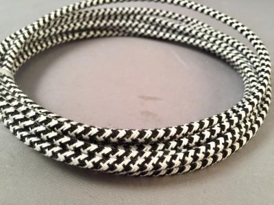 Premium Cloth Covered Line Cord - White and Black Rattlesnake