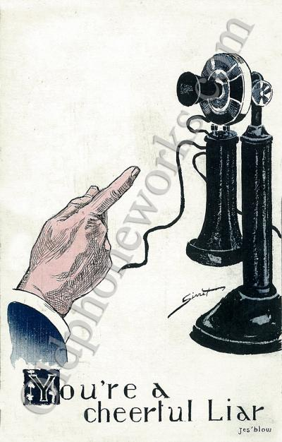 "Vintage Telephone ""Cheerful Liar"" Postcard"