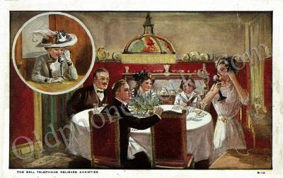 Vintage Telephone Dinner Party Postcard