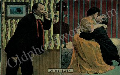 """Vintage Telephone Postcard """"Wire Busy"""""""