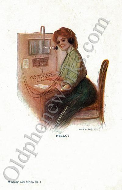 Vintage Telephone Switchboard Postcard - Hello!