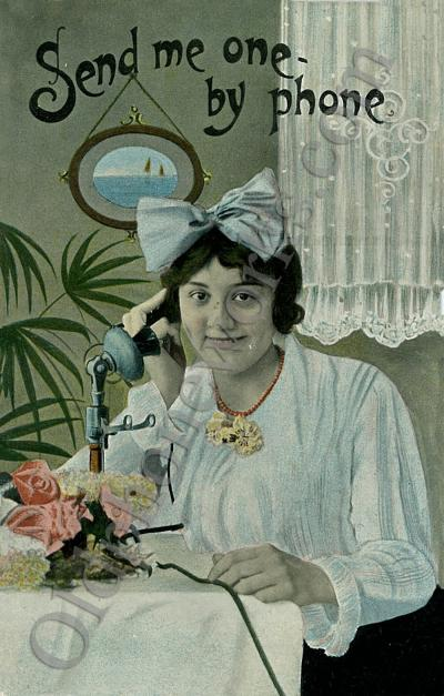 "Vintage Candlestick Postcard ""Send me one by phone!"""