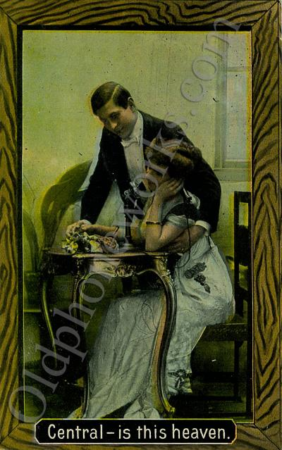 """Vintage Telephone Postcard """"Central - is this heaven."""""""