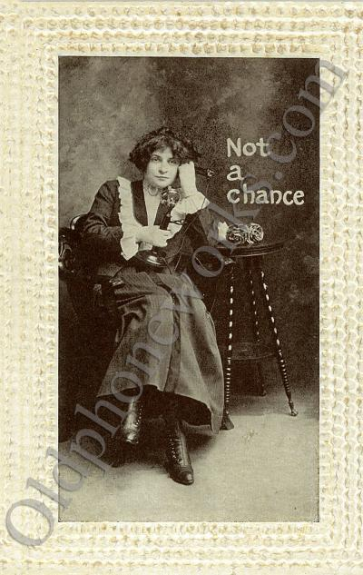 """Vintage Telephone Postcard """"Not a chance"""""""