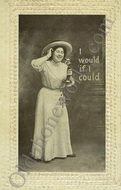 "Vintage Telephone Postcard ""I would if I could"""