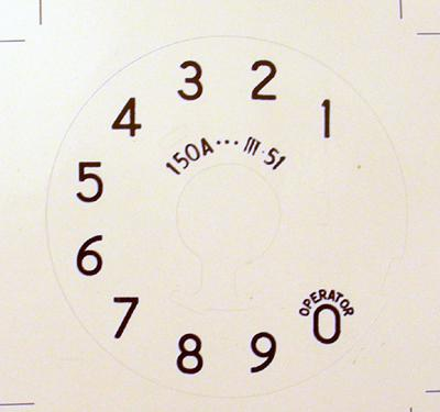 Western Electirc 150a Numeric Dial Plate Overlay for No 5 Dials