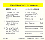 Payphone Instruction Card - White Card