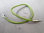 "Cord, Transmitter, Cloth, Green, Pin-Spade, 9"", for Candlestick with Grounded Transmitter"