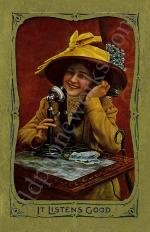 "Vintage Telephone Postcard ""It Listens Good"""