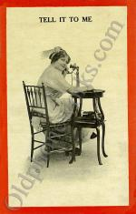 "Vintage Telephone Postcard ""Tell it to me"""