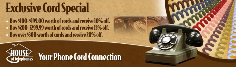 Purchase $300 or more of Telephone Cords and receive a 20% discount.
